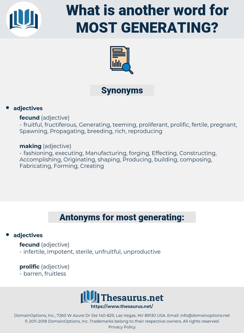most generating, synonym most generating, another word for most generating, words like most generating, thesaurus most generating