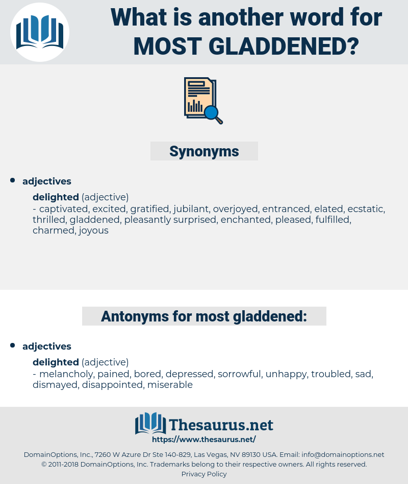 most gladdened, synonym most gladdened, another word for most gladdened, words like most gladdened, thesaurus most gladdened