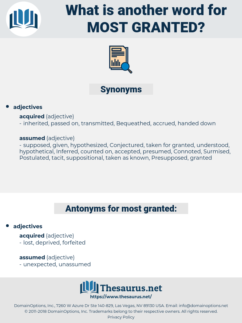most granted, synonym most granted, another word for most granted, words like most granted, thesaurus most granted