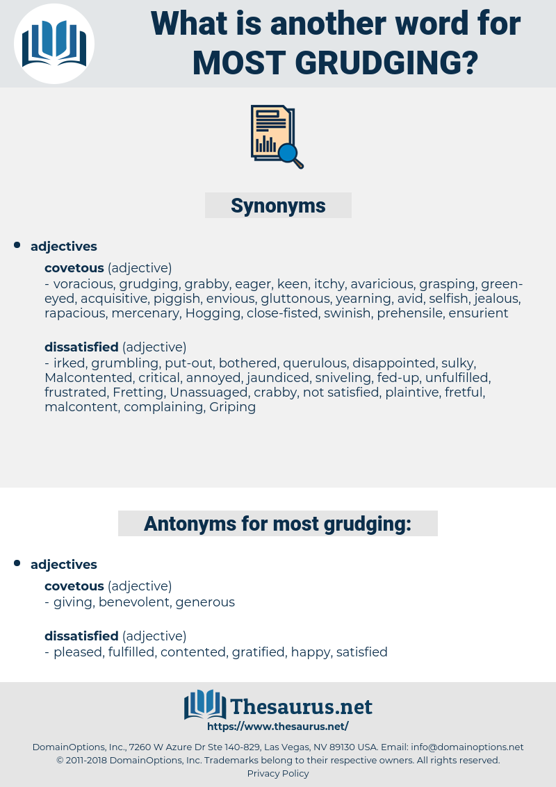 most grudging, synonym most grudging, another word for most grudging, words like most grudging, thesaurus most grudging