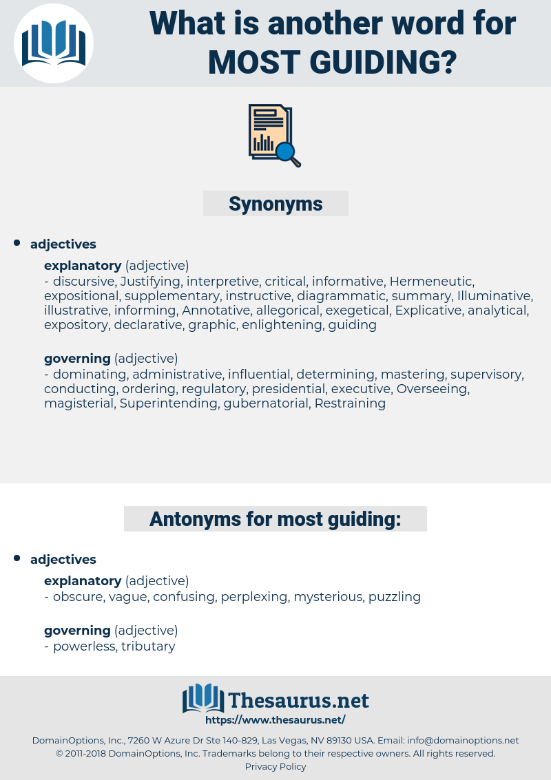 most guiding, synonym most guiding, another word for most guiding, words like most guiding, thesaurus most guiding
