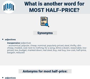 most half-price, synonym most half-price, another word for most half-price, words like most half-price, thesaurus most half-price