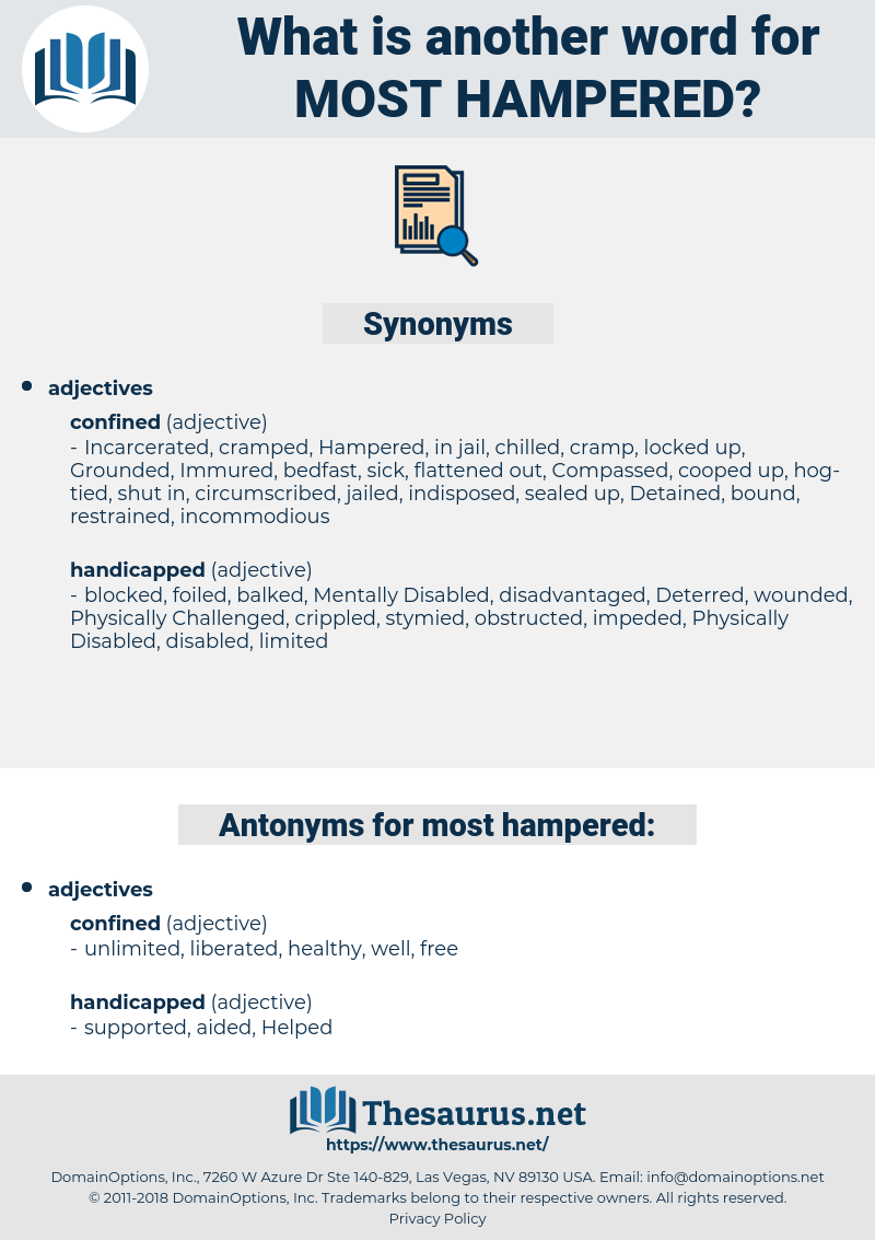 most hampered, synonym most hampered, another word for most hampered, words like most hampered, thesaurus most hampered