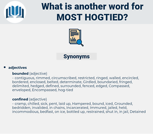 most hogtied, synonym most hogtied, another word for most hogtied, words like most hogtied, thesaurus most hogtied