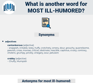 most ill humored, synonym most ill humored, another word for most ill humored, words like most ill humored, thesaurus most ill humored
