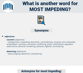 most impeding, synonym most impeding, another word for most impeding, words like most impeding, thesaurus most impeding