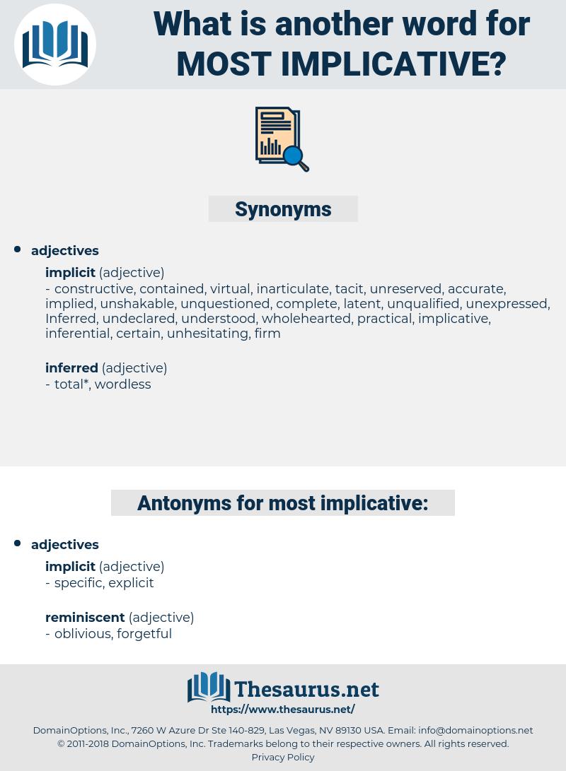 most implicative, synonym most implicative, another word for most implicative, words like most implicative, thesaurus most implicative