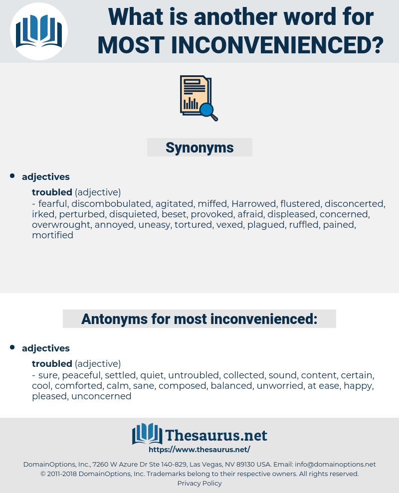 most inconvenienced, synonym most inconvenienced, another word for most inconvenienced, words like most inconvenienced, thesaurus most inconvenienced