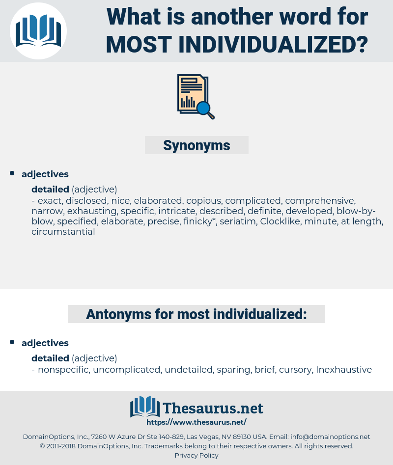 most individualized, synonym most individualized, another word for most individualized, words like most individualized, thesaurus most individualized