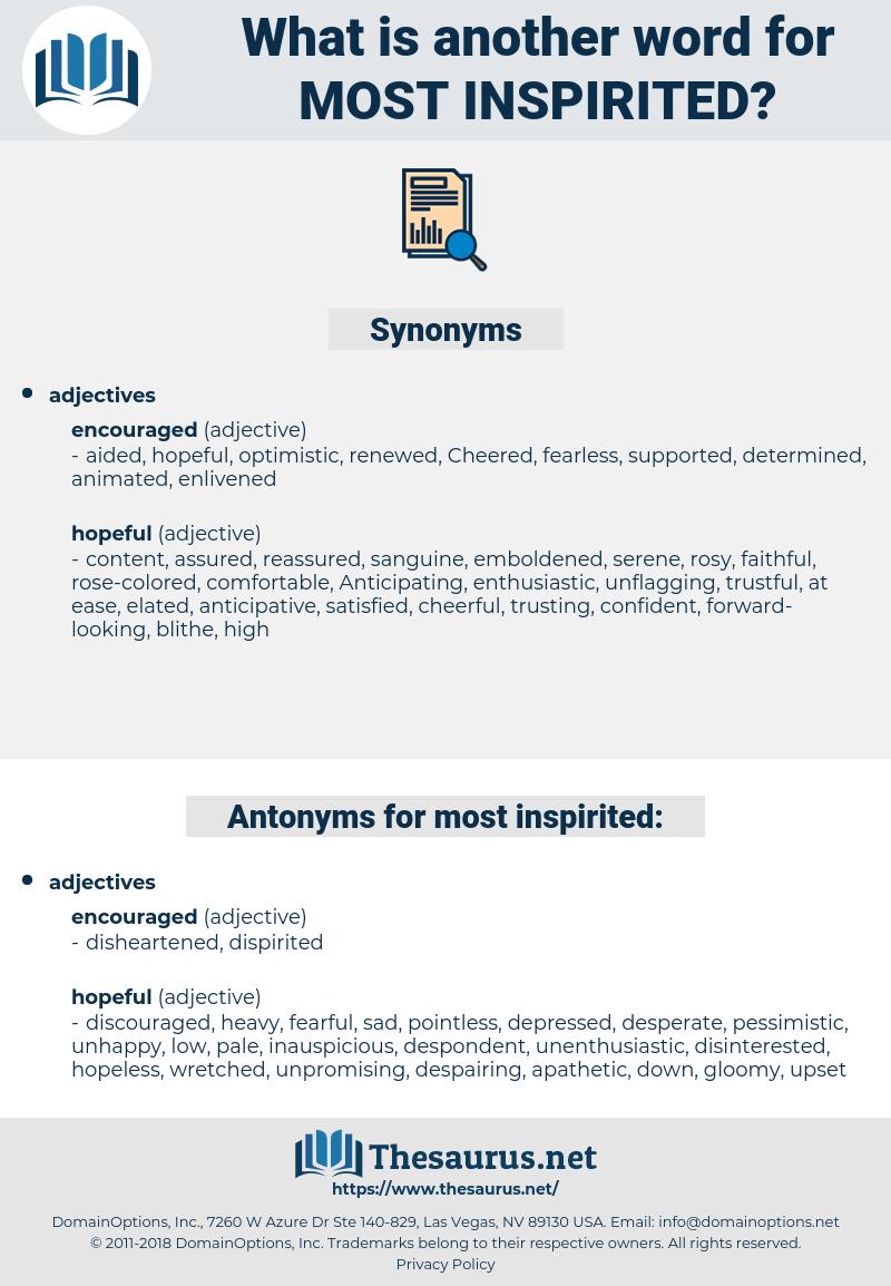 most inspirited, synonym most inspirited, another word for most inspirited, words like most inspirited, thesaurus most inspirited