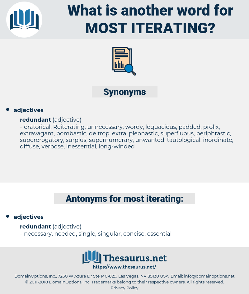 most iterating, synonym most iterating, another word for most iterating, words like most iterating, thesaurus most iterating