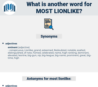 most lionlike, synonym most lionlike, another word for most lionlike, words like most lionlike, thesaurus most lionlike