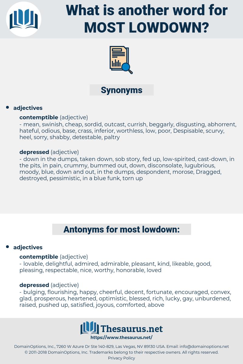 most lowdown, synonym most lowdown, another word for most lowdown, words like most lowdown, thesaurus most lowdown