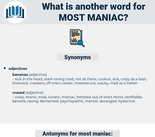most maniac, synonym most maniac, another word for most maniac, words like most maniac, thesaurus most maniac