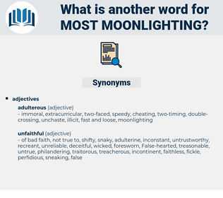 most moonlighting, synonym most moonlighting, another word for most moonlighting, words like most moonlighting, thesaurus most moonlighting