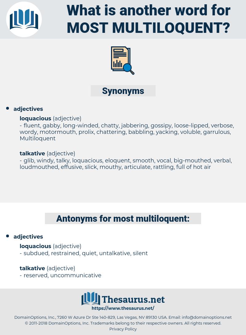 most multiloquent, synonym most multiloquent, another word for most multiloquent, words like most multiloquent, thesaurus most multiloquent