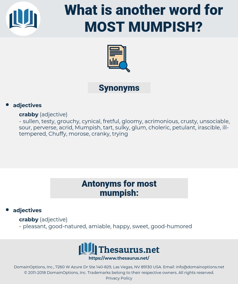 most mumpish, synonym most mumpish, another word for most mumpish, words like most mumpish, thesaurus most mumpish