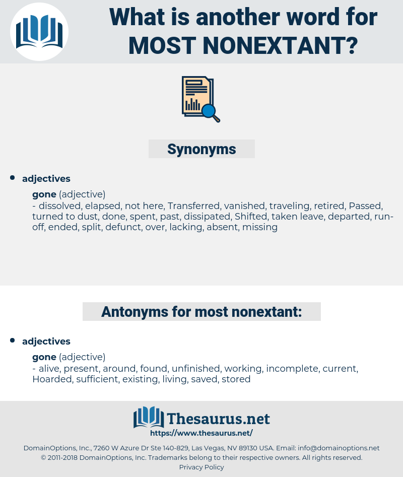 most nonextant, synonym most nonextant, another word for most nonextant, words like most nonextant, thesaurus most nonextant