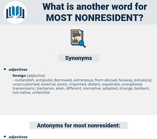most nonresident, synonym most nonresident, another word for most nonresident, words like most nonresident, thesaurus most nonresident