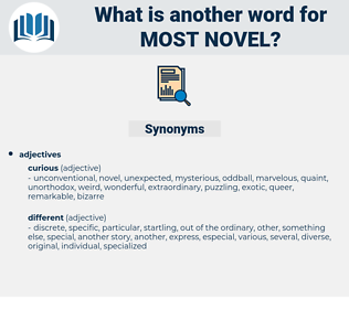most novel, synonym most novel, another word for most novel, words like most novel, thesaurus most novel