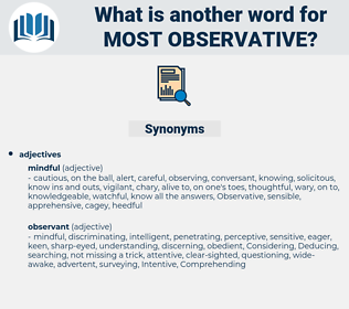 most observative, synonym most observative, another word for most observative, words like most observative, thesaurus most observative