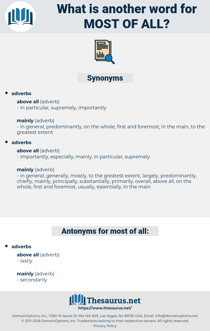most of all, synonym most of all, another word for most of all, words like most of all, thesaurus most of all