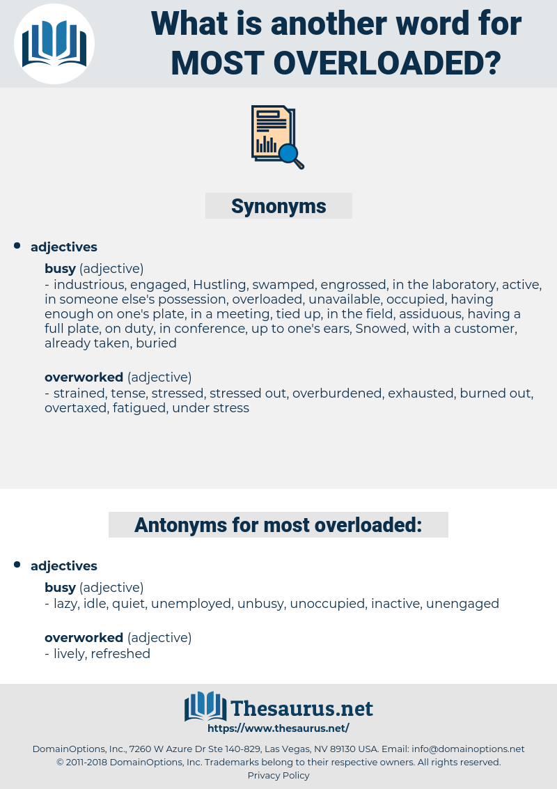 most overloaded, synonym most overloaded, another word for most overloaded, words like most overloaded, thesaurus most overloaded