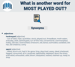 most played-out, synonym most played-out, another word for most played-out, words like most played-out, thesaurus most played-out