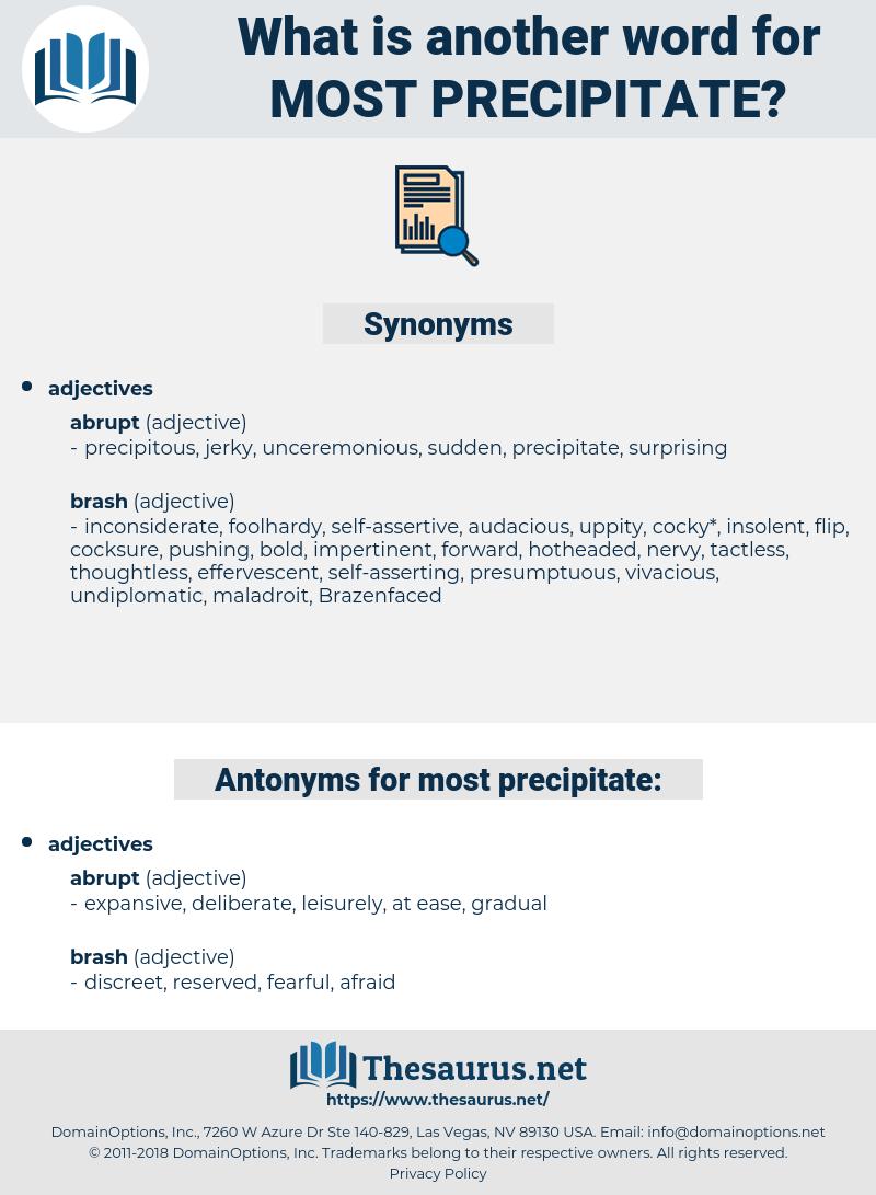 most precipitate, synonym most precipitate, another word for most precipitate, words like most precipitate, thesaurus most precipitate