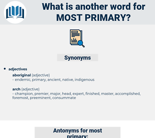 most primary, synonym most primary, another word for most primary, words like most primary, thesaurus most primary
