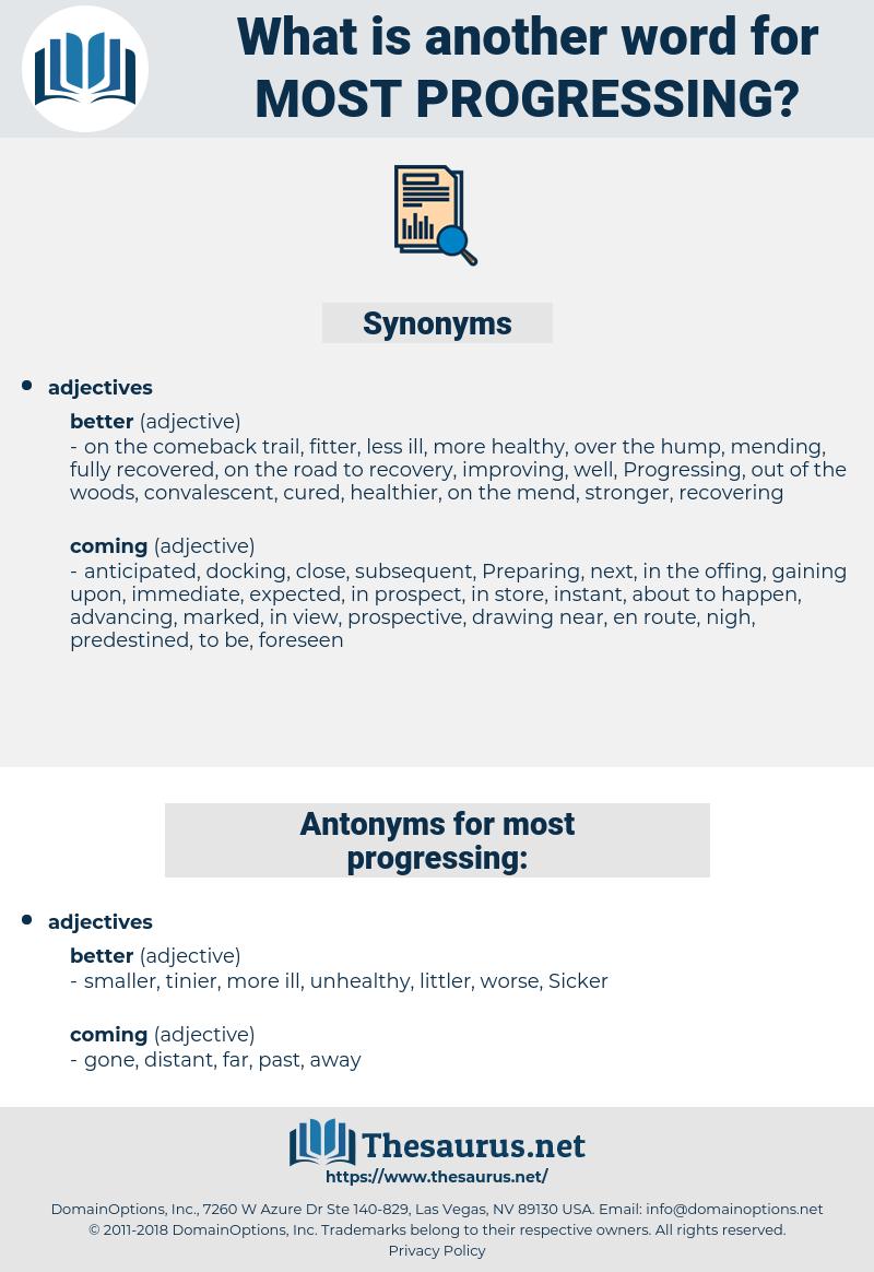 most progressing, synonym most progressing, another word for most progressing, words like most progressing, thesaurus most progressing