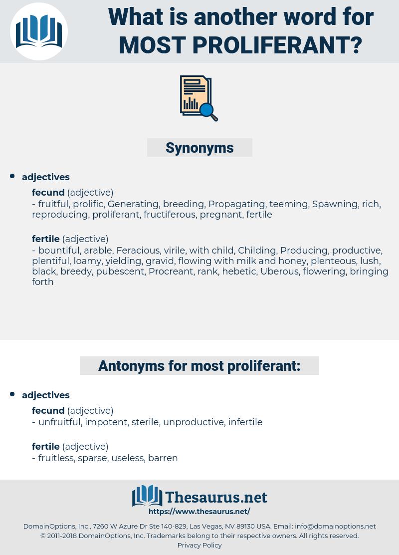 most proliferant, synonym most proliferant, another word for most proliferant, words like most proliferant, thesaurus most proliferant