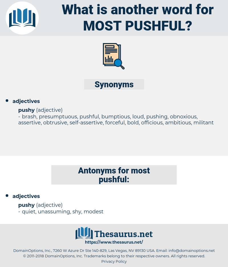 most pushful, synonym most pushful, another word for most pushful, words like most pushful, thesaurus most pushful