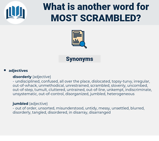 most scrambled, synonym most scrambled, another word for most scrambled, words like most scrambled, thesaurus most scrambled
