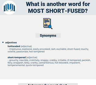 most short fused, synonym most short fused, another word for most short fused, words like most short fused, thesaurus most short fused