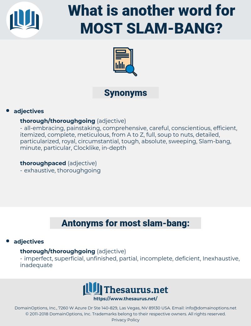 most slam bang, synonym most slam bang, another word for most slam bang, words like most slam bang, thesaurus most slam bang