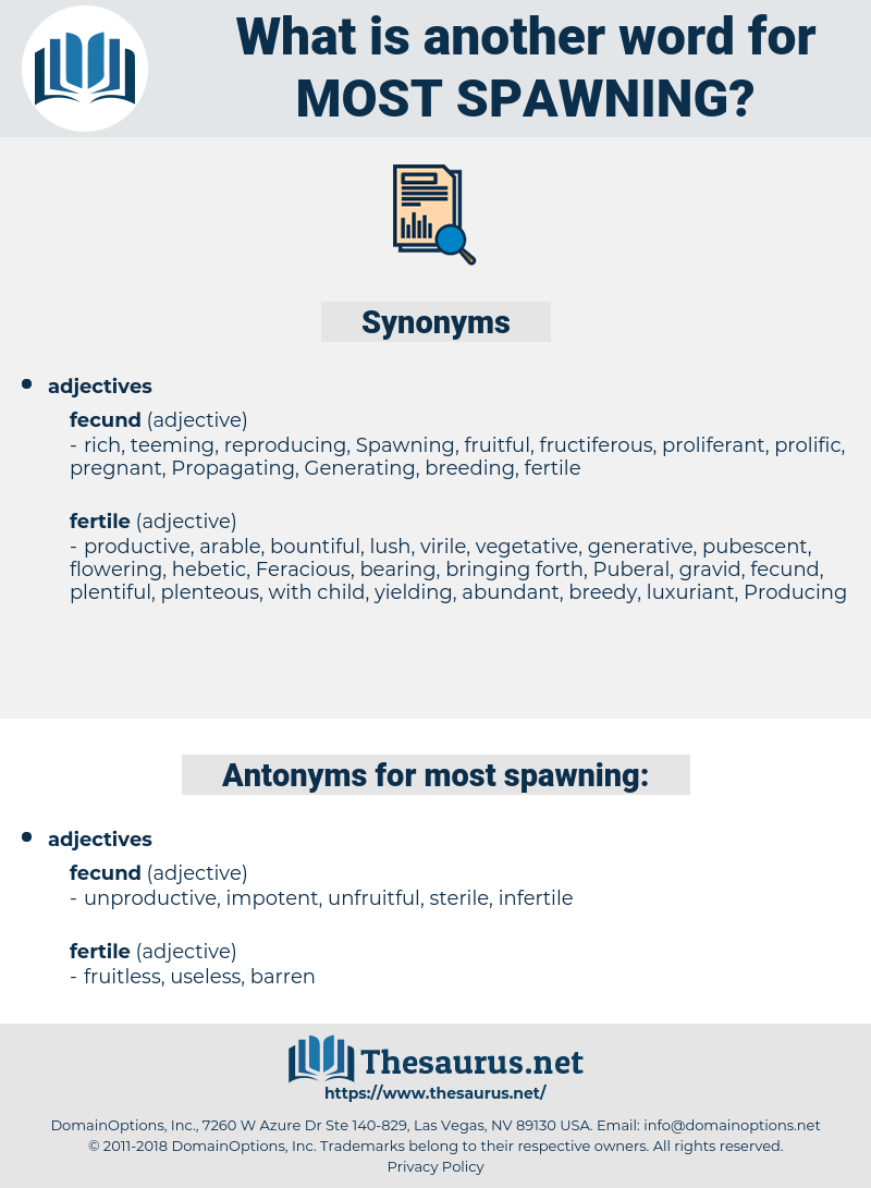 most spawning, synonym most spawning, another word for most spawning, words like most spawning, thesaurus most spawning