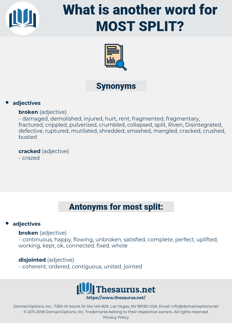 most split, synonym most split, another word for most split, words like most split, thesaurus most split