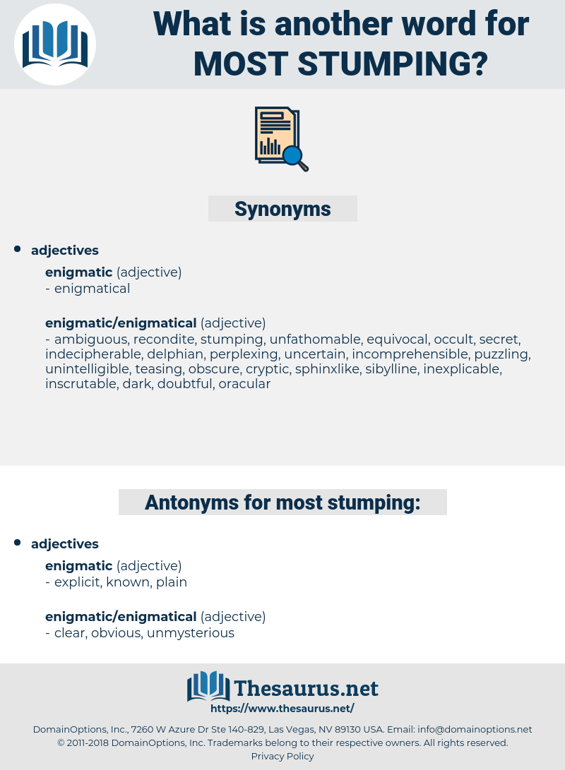 most stumping, synonym most stumping, another word for most stumping, words like most stumping, thesaurus most stumping