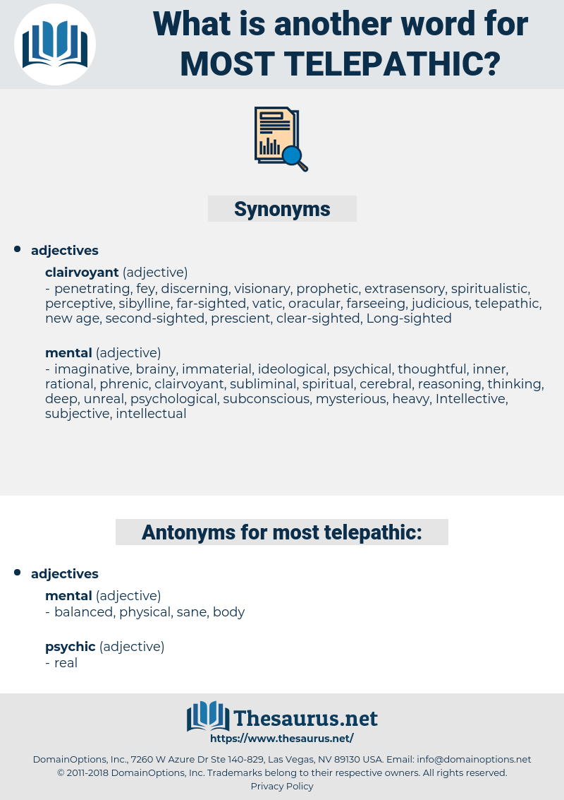 most telepathic, synonym most telepathic, another word for most telepathic, words like most telepathic, thesaurus most telepathic