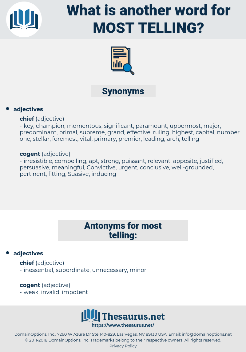 most telling, synonym most telling, another word for most telling, words like most telling, thesaurus most telling