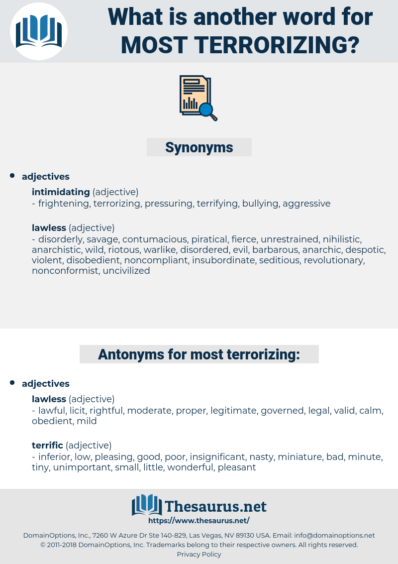 most terrorizing, synonym most terrorizing, another word for most terrorizing, words like most terrorizing, thesaurus most terrorizing