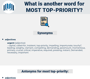most top-priority, synonym most top-priority, another word for most top-priority, words like most top-priority, thesaurus most top-priority