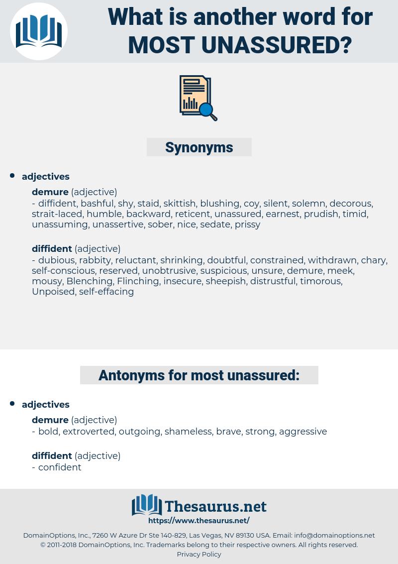 most unassured, synonym most unassured, another word for most unassured, words like most unassured, thesaurus most unassured