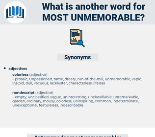 most unmemorable, synonym most unmemorable, another word for most unmemorable, words like most unmemorable, thesaurus most unmemorable