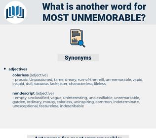 most unmemorable, synonym most unmemorable, another word for most unmemorable, words like most unmemorable, thesaurus most unmemorable