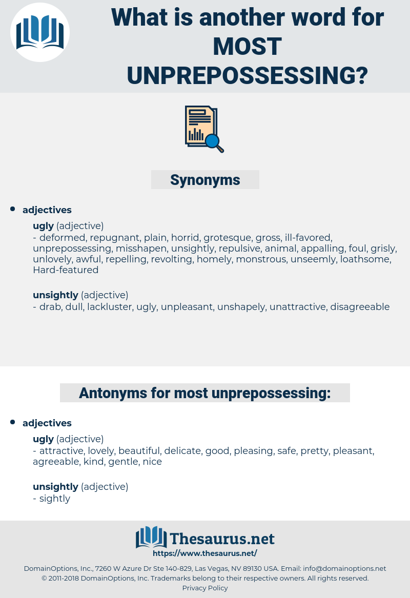 Synonyms For Most Unprepossessing Thesaurus Net Share on facebook   twitter. thesaurus net