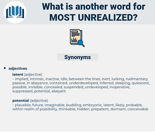 most unrealized, synonym most unrealized, another word for most unrealized, words like most unrealized, thesaurus most unrealized