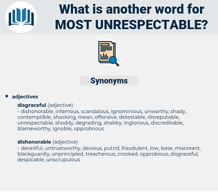most unrespectable, synonym most unrespectable, another word for most unrespectable, words like most unrespectable, thesaurus most unrespectable