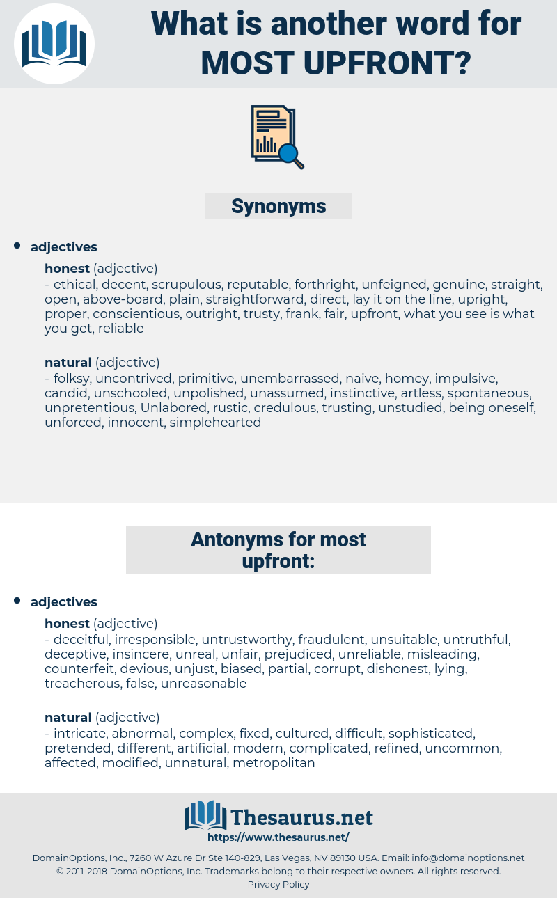 most upfront, synonym most upfront, another word for most upfront, words like most upfront, thesaurus most upfront